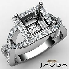 0.68Ct Diamond Engagement Halo Pave Set Princess Semi Mount Ring 18k White Gold