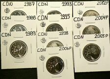 1987 to 2006 P Canada 25 Cents Lot of 10 Uncirculated #5841