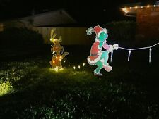 GRINCH Stealing CHRISTMAS Lights Lawn Decoration & Max the Dog too!