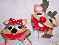 HAND PUPPETS REINDEER MR. & MRS.   2 PC. STORY TELLING - THEATER  HANDCRAFTED