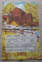 Vintage Linen 1977 Calendar Towel Mill with Water Wheel
