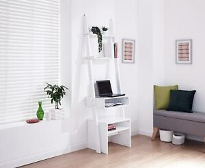 White Ladder Modern 3 Tier Computer Study Desk with Bookcase Shelves and Stool