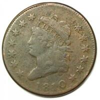 1810 Classic Liberty Head Large Cent 1C - VF Details - Rare Date Coin!