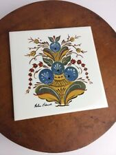 Vtg Helen Blansk Tile Trivet Hanging Ceramic Swedish Artist