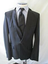 KRIS VAN ASSCHE black stripe twisted lapel slim fit blazer coat jacket 48 38R