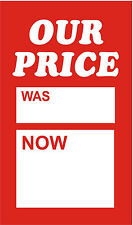 100 X 75mm x 50mm Our Price Was Now Sale Price Cards|Tags|Tickets|Labels
