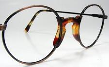 Unique 1980's Primitive Eyeglass Frame vtg Round Antiqued Metal & Tortoise Trim