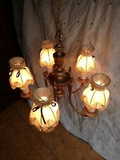 RESTORED 1920/30'S CAST 5 ARM CHANDELIER WITH BEAUTIFUL BRONZE SATIN FINISH