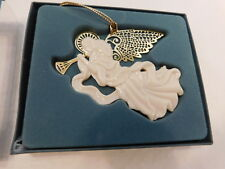 Lenox China Christmas Ornament Gold Harold Angel Joy w/ Metalic Wings