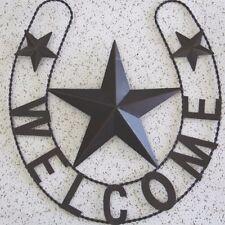 WELCOME HORSESHOE STAR BARN METAL ART RUSTIC BRONZE WESTERN HOME DECOR RUSTY ART