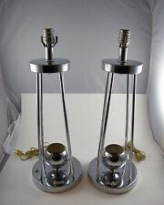 2 ~ VINTAGE TORINO MARKED CHROME TABLE LAMPS ~ PAIR ~ WORK GREAT