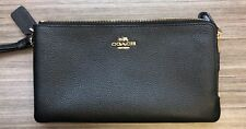 COACH Polished Pebbled Black Leather Double Zip Wallet **Customer Return**