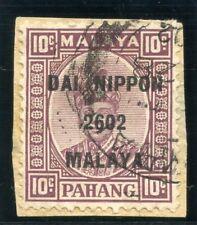 Malaya Jap Occ 1942 KGVI 10c dull purple VFU. SG J242. Sc N16.