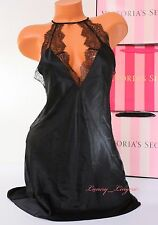 VS VICTORIA'S SECRET Lingerie Slip Slick Lace Babydoll Unlined S Small Black