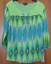 Hochwertige Tunika, Shirt, Bluse, Dolores, Gr. XL L, grün, bestickt, kleine Frau