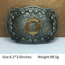 Vintage Mens Western Cowboy Texas Rodeo Initial O Steel Belt Buckle Jewelry