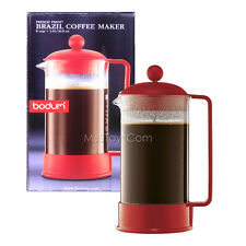 NEW Bodum Brazil Coffee Maker Shatterproof  8-Cup/34 0z French Press Elegant Red
