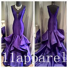 Unique Design Purple Prom Dresses Mermaid Satin Evening Party Bridal dress