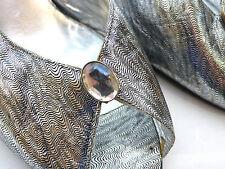 Molto bello Salvatore Ferragamo argento in pelle peep-toe Scarpe tacchi Taglia US 5.5