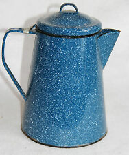 Vintage Blue with White Spek ENAMELWARE COFFEE POT with Hinged Lid