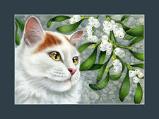 Turkish Van Cat Botanical Misletoe Print by I Garmashova