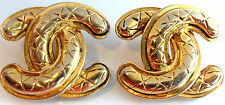 CHANEL CC LOGO GOLDPLATED X CLIP BACK EARRINGS VINTAGE RUNWAY VINTAGE AUTHENIC