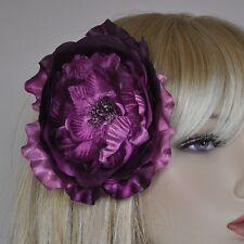 Pivoine Purple violet Soie Fleur Broche Boutonnière Bijoux De Cheveux NEUF