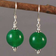 ON SALE Fashion 10mm Green Jade Round Beads Silver Hook Earrings
