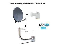 Antena Parabólica Satélite 80 cm HDTV Quad LNB de grafito corab 0,1db Soporte de pared 400 M
