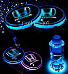 2PCS LED Car Cup Holder Pad Coaster Light 7 Colors Changing USB Charge for Honda