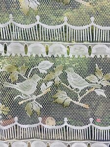 Vintage French Tiered Coloured Net curtain panel. Birds.  45 cms W x 156 cms L