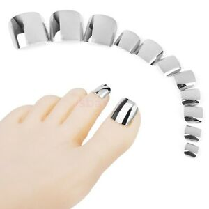 TOE TIPS *METALLIC SILVER* Adorable 24 Full Cover Press On Toe Nails + Glue!