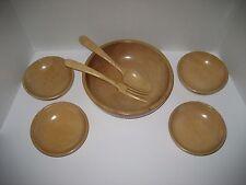 Vintage light Wood Salad Bowls Set Mid Century Hand Carved Japan **NEVER USED**