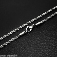 2.5mm Men Chain Unisex Silver Tone Twist Rope Stainless Steel Chain Necklace 20""