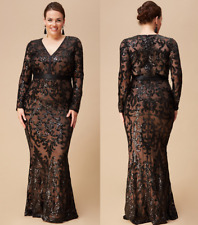 Goddiva Black Embroidered Sequin Mermaid Chiffon Evening Maxi Dress 16-26 Party