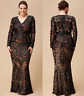 Goddiva Black Embroidered Sequin Mermaid Chiffon Evening Maxi Dress 16-26 Party