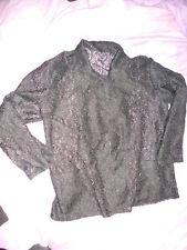 vintage black lace boyfriend blazer from 1980s size 10 12 gothic