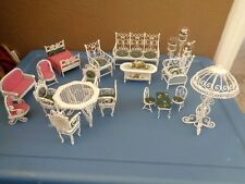 Vintage soft metal white 18 pc doll house furniture set