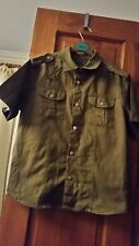 Boys Cherokee 9-10years olive embroidered shirt