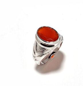 Natural Red Onyx Gemstone 14K White Gold Men's Ring SR691