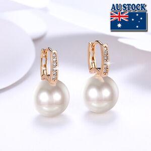 Womens 18K Gold Filled White Pearl Zircon Crystal Hoop Huggie Earrings