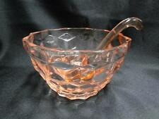 "Pink ""American"" Like Depression Glass Bowl with Ladle AS IS 4 1/2"""