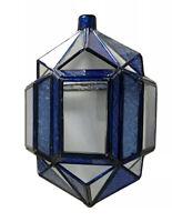 Antik Glasschirm Lampenschirm Metallmontur Glas Pressglas blau Art Déco