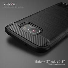 DE LUJO Antigolpes Duro Fibra De Carbono Trasero Funda para Samsung Galaxy