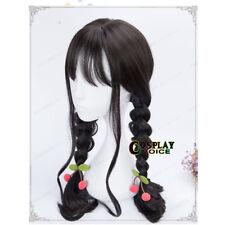 60CM Lolita Black Long Wavy Hair Natural Cosplay Wig Heat Resistant Thin Bang