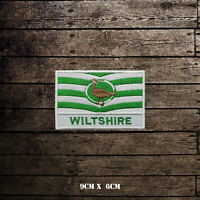 WILTSHIRE Flag With Name Embroidered Iron On Sew On Patch Badge For Clothes Etc