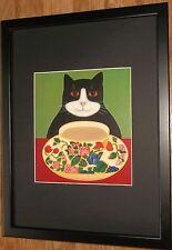 Naïf cat wall art, cadre 12''x16'', encadrée adorable cats, mignon chat imprimer
