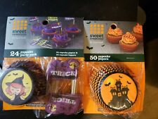 Halloween Cupcake Liners And Toppers, 74 Liners, 24 Toppers