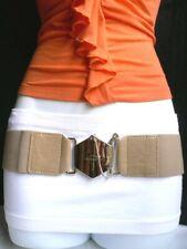 New Women Elastic Beige Fashion Belt Gold Chains Metal Big Cross Buckle S M
