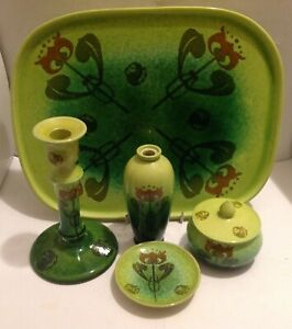 RARE AND STYLISH AULT POTTERY DRESSING TABLE SET